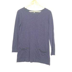 Dalia  Purple Knit Tunic Faux Leather Trim Pockets